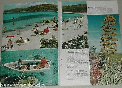 1956 magazine article about VIRGIN ISLANDS, history, people, etc, color photos