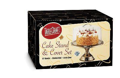 TableCraft H821422 Stainless Steel 12in Cake Stand and Cover Set
