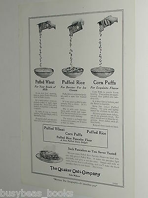 1920 Quaker Oats advertisement, Quaker Puffed Wheat, Rice, Corn