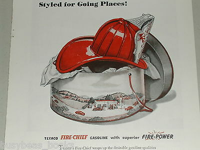 1946 TEXACO advertisement, Texaco Fire-Chief gasoline, Fireman's helmet, hat box