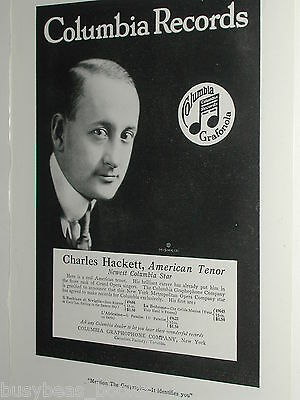 1920 Columbia Graphophone advertisement page, records, Opera, Charles Hackett