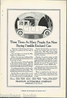 1917 FRANKLIN advertisement, Franklin Automobile Co. enclosed car chauffer