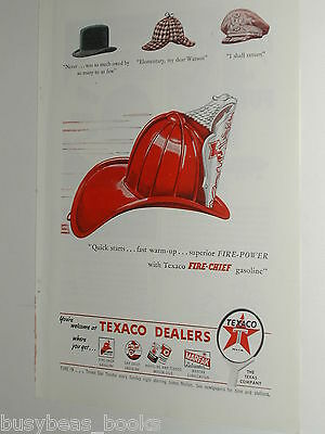 1946 TEXACO advertisement, Texaco Fire-Chief gasoline, Firemans helmet