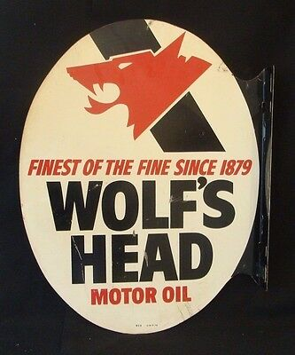 "Original 1978 Metal Wolf's Head Flange Advertising Sign 22"" x 17"" *Gas & Oil"
