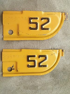Vintage Matched Pair 1952 CALIFORNIA YOM License Plate Year Tabs #2988004