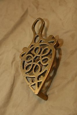 Vintage Antique Solid Brass Trivet Heavy Tall Country Kitchen Hearth