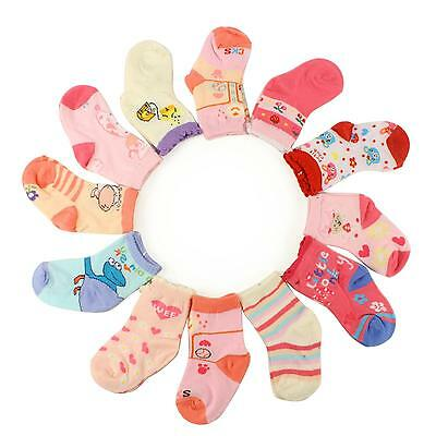 12 Pairs Cute Girls Casual Long Crew Socks Set Kids Pastels Toddlers Ages 1-2