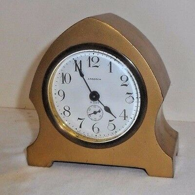 Antique Ansonia Gilt 8 Day Miniature Desk Boudoir Clock In Working Condition