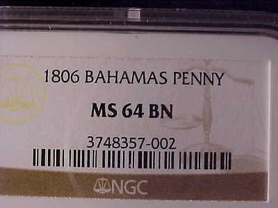 Bahamas One Penny 1806 Ngc Ms 64 Bn, And Scarce This Nice