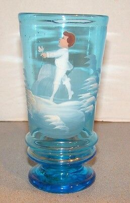 Antique Mary Gregory Hand Painted Boy Blue Glass Goblet Tumbler Beaker