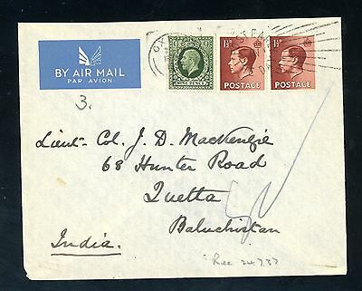 1937 Cover Oxford to India Air Mail Cover 9d + (2 x 1 1/2d Edward VIII)  (J1627)