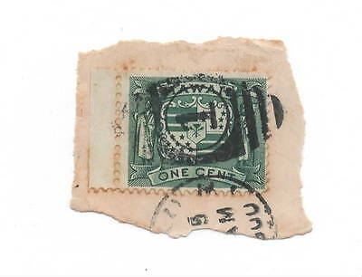Hawaii 19th century used stamp on paper, arms green 1c (1083)