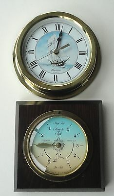 Vtg Brass Wood Mounted Downeaster Cape Cod MA Time To Tide Classic Wall Clock