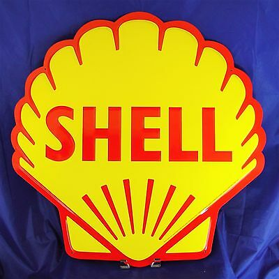 "Shell Gas Gasoline Yellow Garage Metal Tin Sign 24"" Vintage Decor Embossed Large"