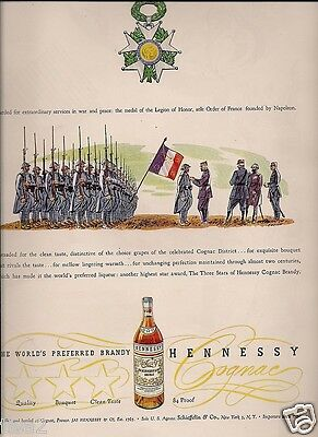 1946 NAPOLEON Founded LEGION OF HONOR Medal Winning Soldiers HENNESSY Vintage Ad