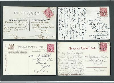 Railway Canada 1907/11 4x KEVII 2c Picture Postcards various R.P.O. & M.C. s/c's