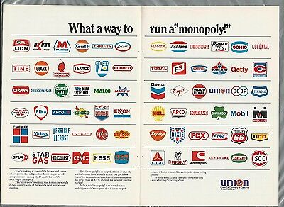 1976 UNION OIL 2 page advertisement, gasoline, showing 72 gas company logos