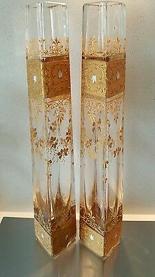 Pair antique tall moser ? glass vases stunning