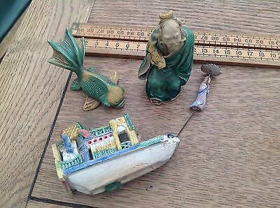 Small Collection Of Vintage Oriental Clay Figures Etc