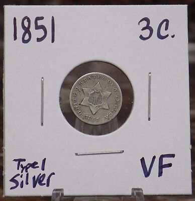 1851 Silver 3 Cent Piece Very-Fine Condition - 1851 3CS VF - US Three Cent Coin