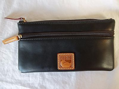 Dooney & Bourke Black Leather Wallet Dual Zipper Clutch Cosmetic Bag Authentic