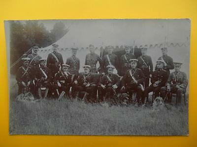 WW1 Group of Army Officers & Rough Collie Dogs RP c1914 Mixed Regiments