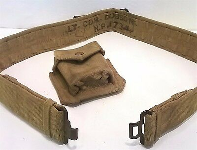 Genuine British Army WWII WW2 P37 Webbing Belt and Ammunition Pouch With Name