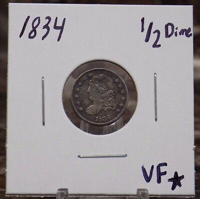 1834 Capped Bust Half Dime Very-Fine Condition - 1834 Bust H10C Silver VF Cond.