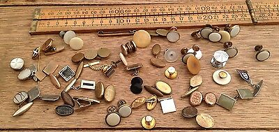A Batch Of Early Vintage Cufflinks And Collar Studs, Singles, Spares Etc