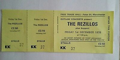 The Rezillos  unused concert ticket  from the free trades hall manchester.
