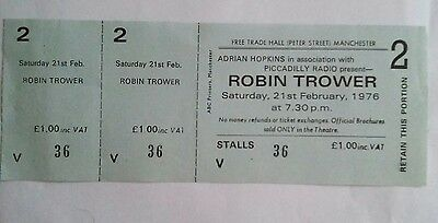 Robin Trower   unused concert ticket  from the free trades hall manchester.
