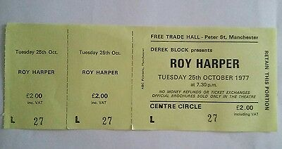 Roy Harper unused concert ticket  from the free trades hall manchester.