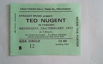 Ted Nugent  used concert ticket  from the free trades hall manchester.