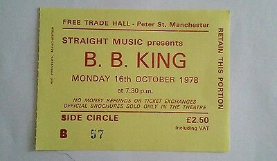 B.B.King   used concert ticket  from the free trades hall manchester.