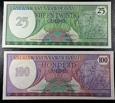 SURINAME: 1985, 25 & 100 Gulden **UNC** P-127b, 128b ◢ FREE COMBINED S/H ◣