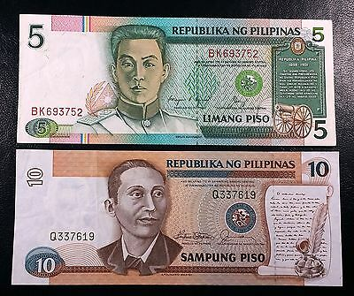 PHILIPPINES: 1985-1991 5 & 10 Piso Notes, P-168 169 **AU** ◢ FREE COMBINED S/H ◣