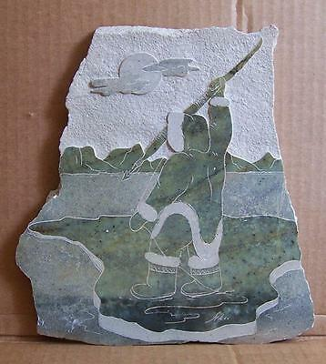 A 'siku' Inuit Carved, Incised, Drawing On Soapstone Tablet, Signed.
