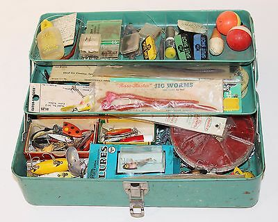 NICE Old Metal Fishing Tackle Box by Liberty Full Of Vintage Lures and Gear