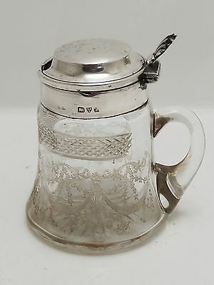 A Beautiful Quality Antique 1911 Solid Silver And Glass Mustard Pot
