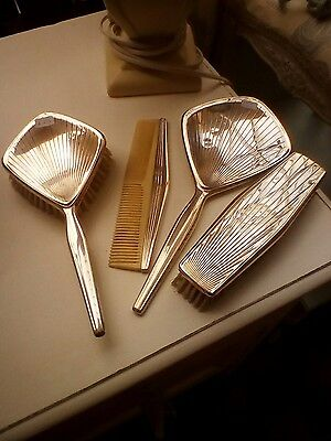 vintage dressing table set four pieces silver colour