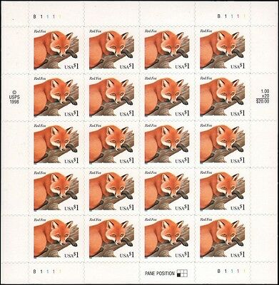 3036 $1 Red Fox Mint Complete Sheet of 20 Stamps - Scarce!
