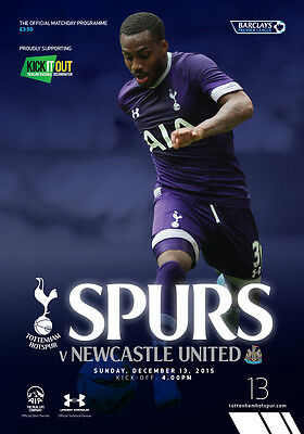 TOTTENHAM v NEWCASTLE UTD 13/12/15 PROGRAMME SPURS Premier League EPL