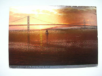 Sunset through the Forth Road Bridge, South Queensferry. (Melody)
