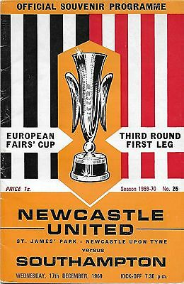 Football Programme>NEWCASTLE UNITED v SOUTHAMPTON Dec 1969 European Fairs Cup