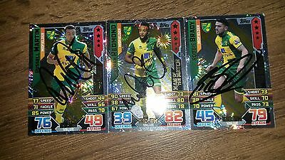 Set Of 3 Hand Signed Norwich City Man Of The Match 15/16 Match Attax Cards