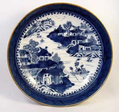 Antique 18th Century Canton Blue and White Export Cup Plate, Dish, Low Bowl  N/R