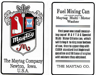 Maytag Gas Engine Motor Mixing Can Decal 'Not A Quart Measure' Motor 92 31 72 82