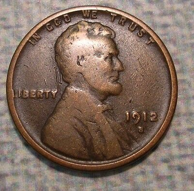 1912-S Lincoln Wheat Cent. Very Good. #1LIN427