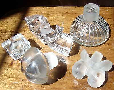 Art Deco Crystal Glass Perfume Bottle Stopper Lot Lalique Hollow Ribbed Glass 6p