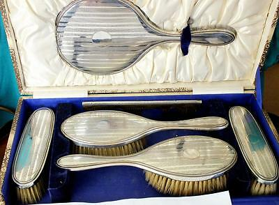 Large Finely Engraved Solid Silver Six Piece Mirror & Brush Set - Bham 1928 DMCo